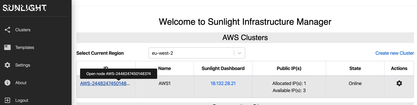 aws infrastructure new cluster hover