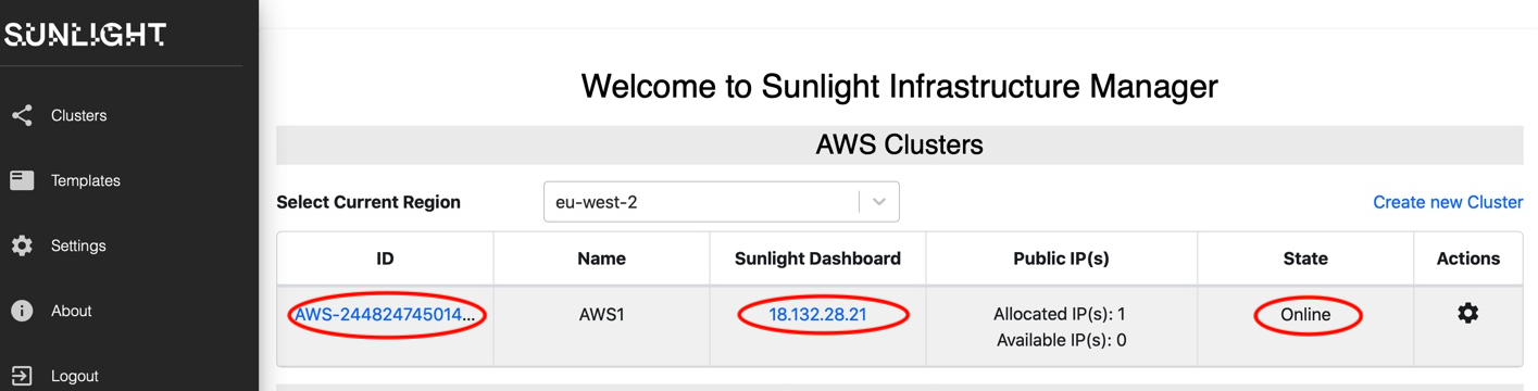 aws infrastructure new cluster online