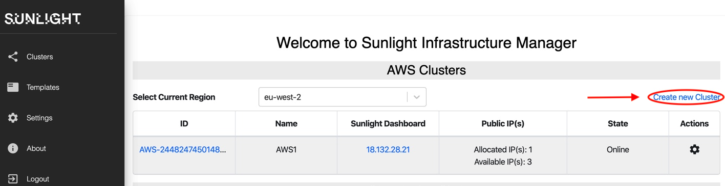 Create AWS Cluster