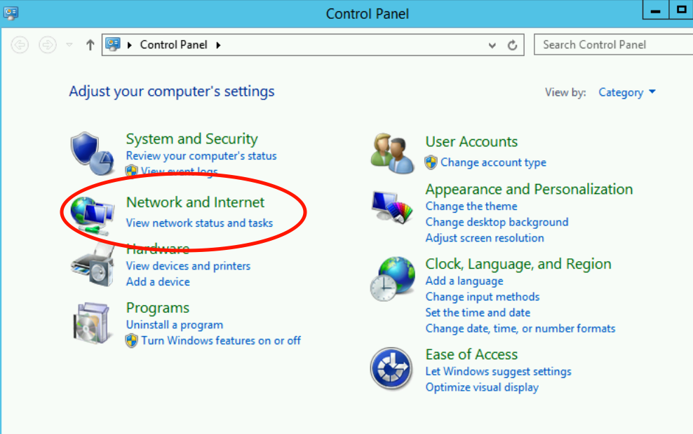 Network and Internet Settings Windows