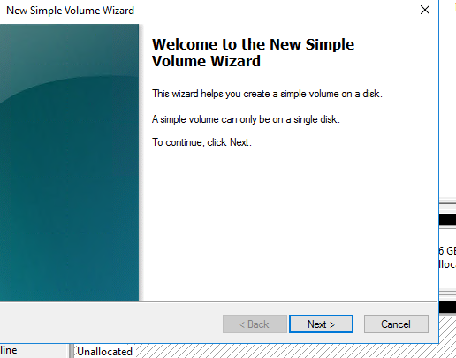 Welcome Volume Wizard